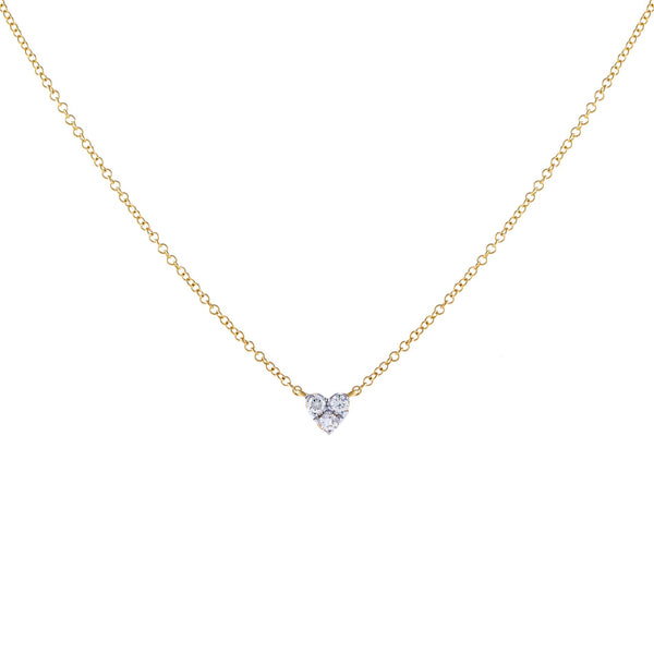 14K Gold Diamond Heart Cluster Necklace 14K - Adina's Jewels