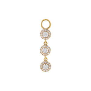 14K Gold Diamond Halo Trio Charm 14K - Adina's Jewels