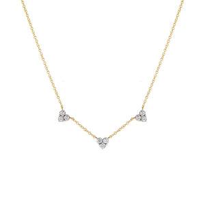 14K Gold Diamond Triple Cluster Heart Necklace 14K - Adina's Jewels