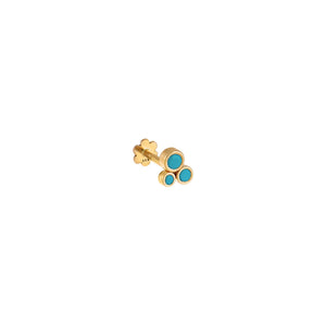 Turquoise Circle Cluster Threaded Stud Earring 14K