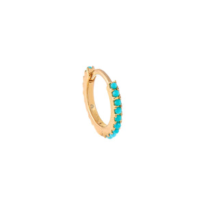 Turquoise / Single Diamond Turquoise Beaded Huggie 14K - Adina's Jewels