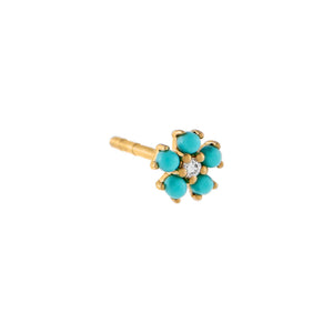 Turquoise / Single Diamond Turquoise Flower Stud Earring 14K - Adina's Jewels