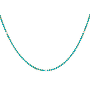 Turquoise Diamond X Turquoise Tennis Necklace 14K - Adina's Jewels