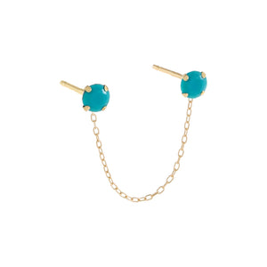 Turquoise / Single Turquoise Stone Double Chain Stud Earring 14K - Adina's Jewels