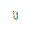 Turquoise / Single Diamond Turquoise Huggie Earring 14K - Adina's Jewels