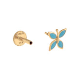 Turquoise Butterfly Threaded Stud Earring 14K - Adina's Jewels