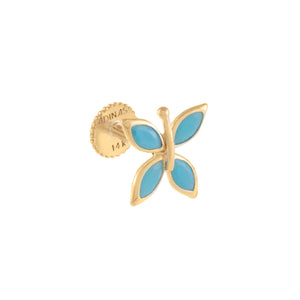 Turquoise / Single Turquoise Butterfly Threaded Stud Earring 14K - Adina's Jewels