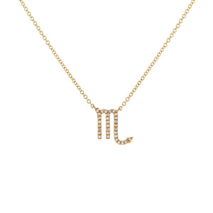 14K Gold / Scorpio Diamond Zodiac Necklace 14K - Adina's Jewels
