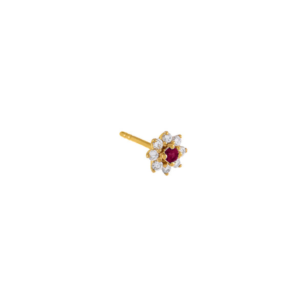 Magenta / Single Diamond Colored Flower Stud Earring 14K - Adina's Jewels