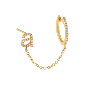 14K Gold / Single Diamond Initial Chain Stud X Huggie Earring 14K - Adina's Jewels