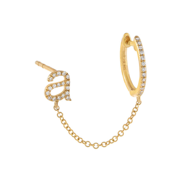 14K Gold / A / Single Diamond Initial Chain Stud X Huggie Earring 14K - Adina's Jewels