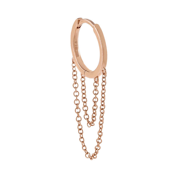 14K Rose Gold / Single Solid Cartilage Chain Huggie Earring 14K - Adina's Jewels