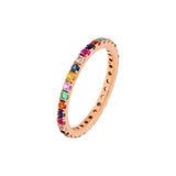 14K Rose Gold / 6.5 Diamond Thin Rainbow Ring 14K - Adina's Jewels