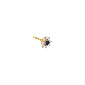 Sapphire Blue / Single Diamond Colored Flower Stud Earring 14K - Adina's Jewels