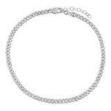 Silver Baby Pavé Cuban Link Anklet - Adina's Jewels