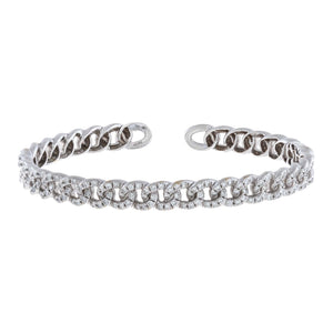 14K White Gold Diamond Chain Link Bangle 14K - Adina's Jewels