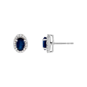 14K White Gold Diamond X Sapphire Oval Stud Earring 14K - Adina's Jewels