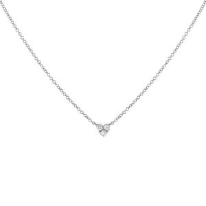 14K White Gold Diamond Heart Cluster Necklace 14K - Adina's Jewels