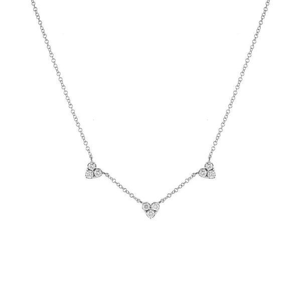 14K White Gold Diamond Triple Cluster Heart Necklace 14K - Adina's Jewels