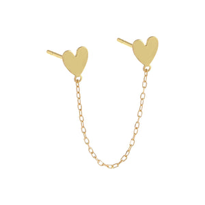 14K Gold / Single Double Heart Chain Stud Earring 14K - Adina's Jewels