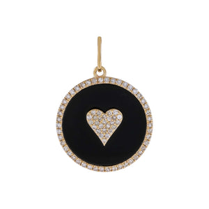 Onyx Diamond Onyx Heart Charm 14K - Adina's Jewels