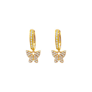 Diamond Mini Butterfly Huggie Earring 14K 14K Gold / Pair - Adina's Jewels
