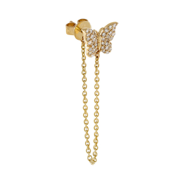 14K Gold / Single Diamond Butterfly Chain Drop Earring 14K - Adina's Jewels