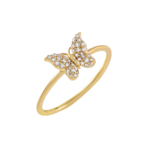 14K Gold / 7 Diamond Butterfly Ring 14K - Adina's Jewels