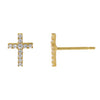 14K Gold CZ Cross Stud Earring 14K - Adina's Jewels