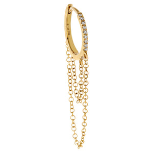 14K Gold Diamond Cartilage Double Chain Huggie Earring 14K - Adina's Jewels