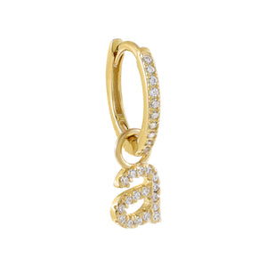 Gold / A Pavé Lowercase Initial Huggie Earring - Adina's Jewels