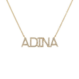14K Gold / 2-3 Diamond Block Nameplate Necklace 14K - Adina's Jewels