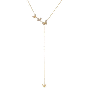 14K Gold Diamond Butterflies Lariat 14K - Adina's Jewels