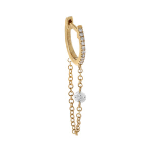 14K Gold / Single Floating Diamond Chain Huggie Earring 14K - Adina's Jewels