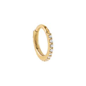 14K Gold CZ Clicker Huggie Earring 14K - Adina's Jewels