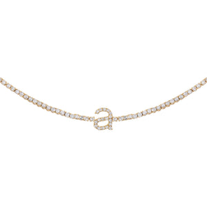 14K Gold Diamond Lowercase Initial Tennis Choker 14K - Adina's Jewels