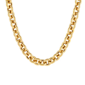 "14K Gold / 18.5"" / 10 MM Hollow Rounded Rolo Necklace 14K - Adina's Jewels"