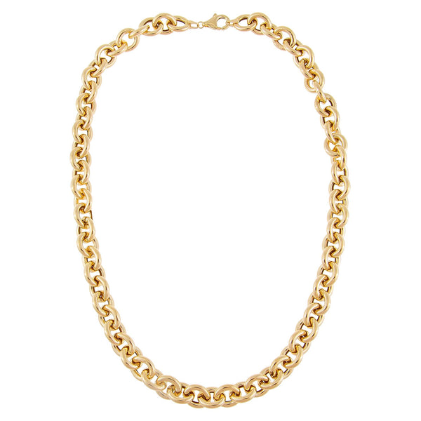 Hollow Rounded Rolo Necklace 14K - Adina's Jewels