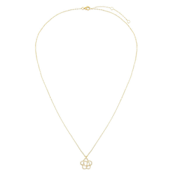 Diamond Flower Necklace 14K