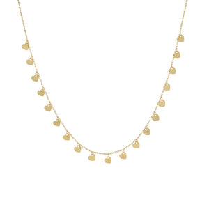 14K Gold Multi Dangling Heart Necklace 14K - Adina's Jewels