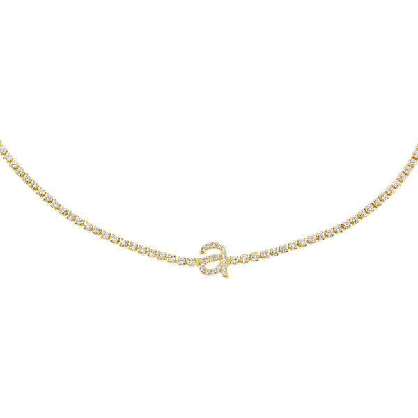 Gold / A Lowercase Initial Tennis Choker - Adina's Jewels