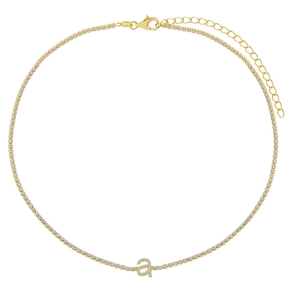 Lowercase Initial Tennis Choker - Adina's Jewels