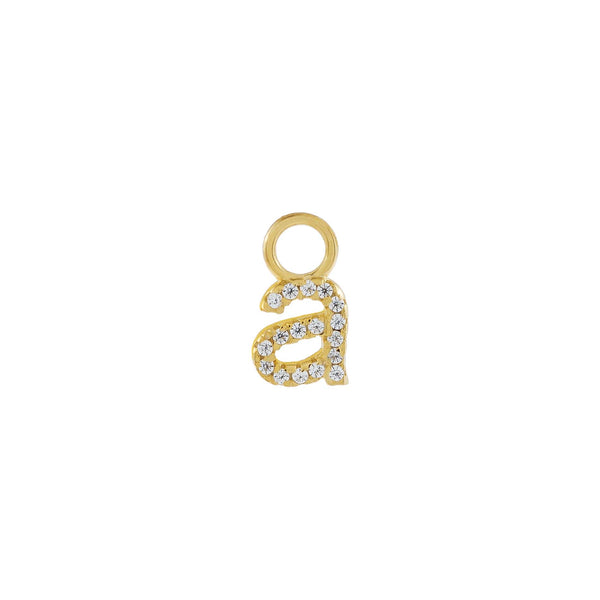 Gold / A Pavé Lowercase Initial Charm - Adina's Jewels