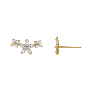 14K Gold CZ Triple Flower Stud Earring 14K - Adina's Jewels