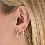 CZ X Solid Multi Cross Hoop Earring 14K - Adina's Jewels