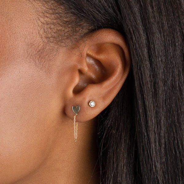 Diamond Bezel Stud Earring 14K - Adina's Jewels