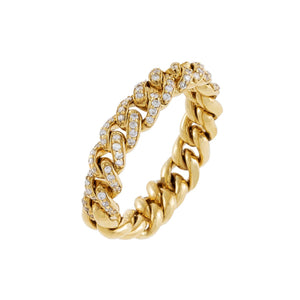 14K Gold / 7 Diamond Chunky Cuban Chain Ring 14K - Adina's Jewels