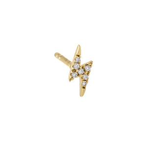 14K Gold / Single / 4 MM Diamond Tiny Lightning Bolt Stud Earring 14K - Adina's Jewels