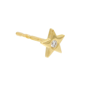 14K Gold / Single Diamond Stars Stud Earring 14K - Adina's Jewels