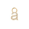 14K Gold / Single Diamond Lowercase Initial Charm 14K - Adina's Jewels